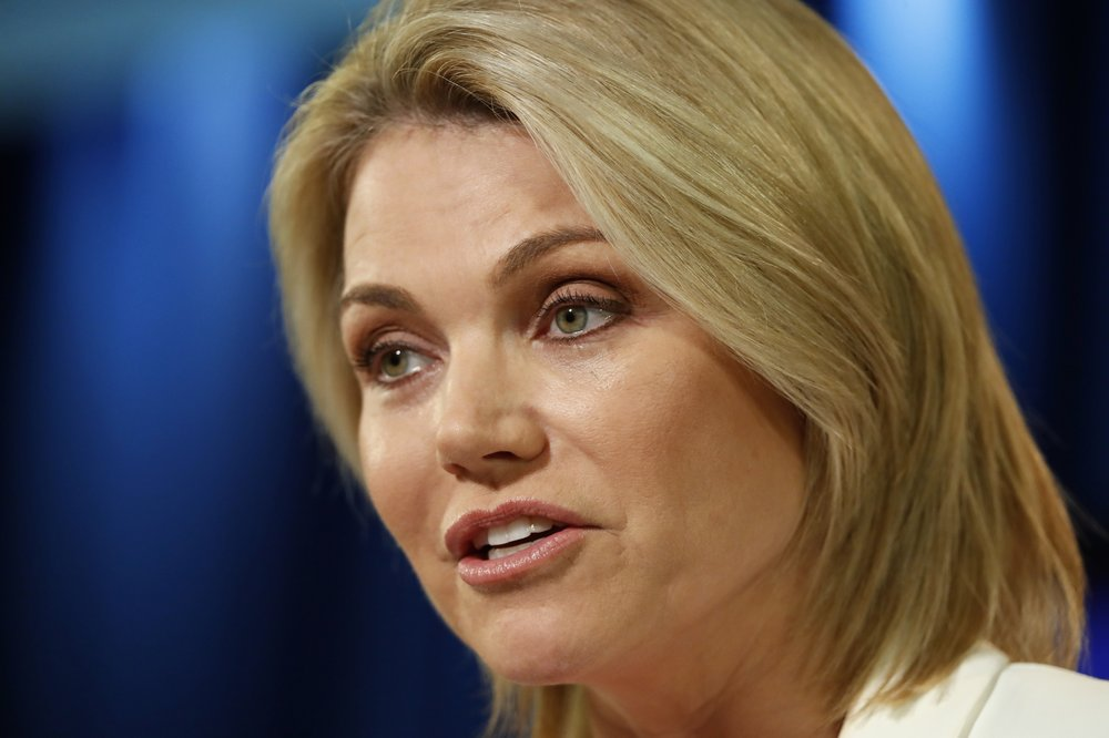 Aug. 9, 2017 file photo, State Department spokeswoman Heather Nauert speaks during a briefing at the State Department in Washington_1550405973875.jpeg.jpg