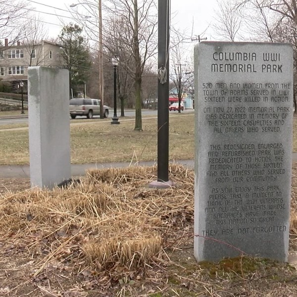Spotlights smashed at WWI Memorial in Adams