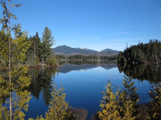 The Adirondack High Peaks reflected in Boreas Pond