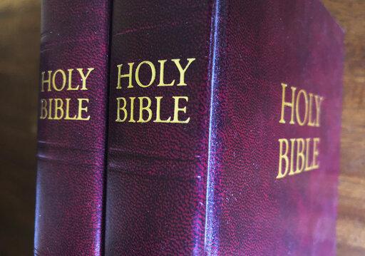 Bibles on displayed in Miami, July 5, 2019. (AP Photo/Marta Lavandier)