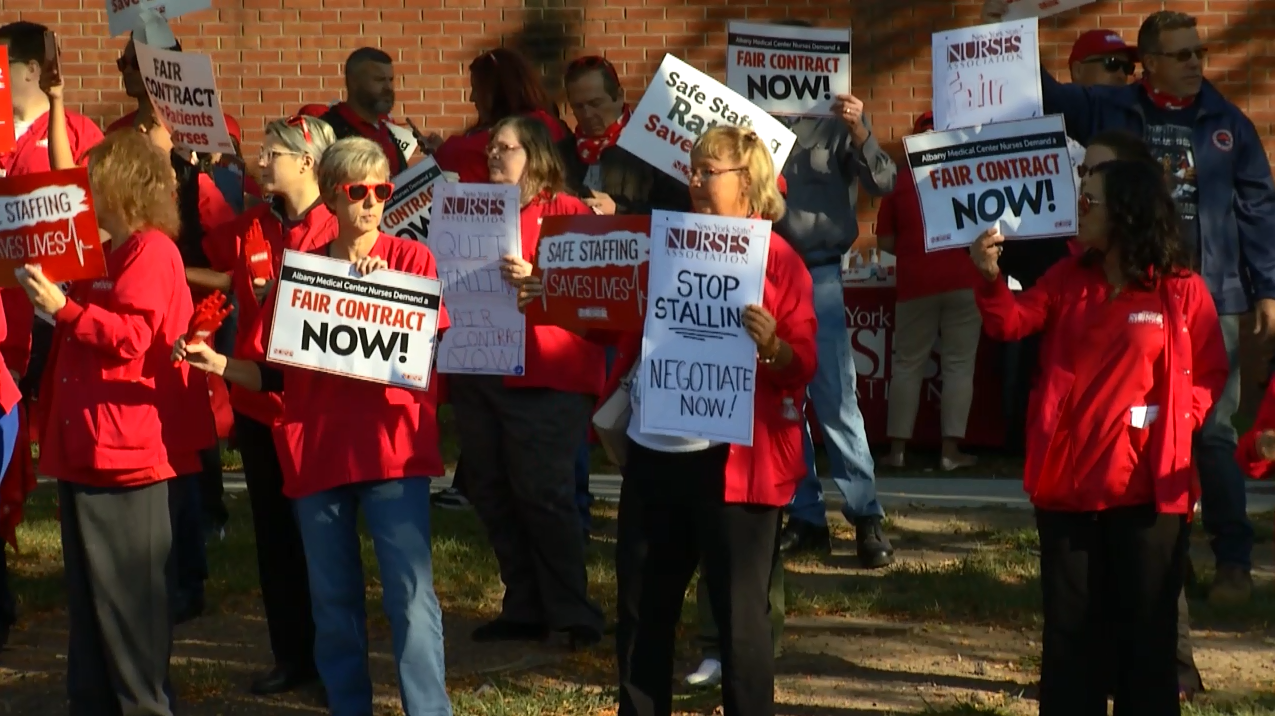 Nurses Picket At Albany Med For Better Benefits More Staffing