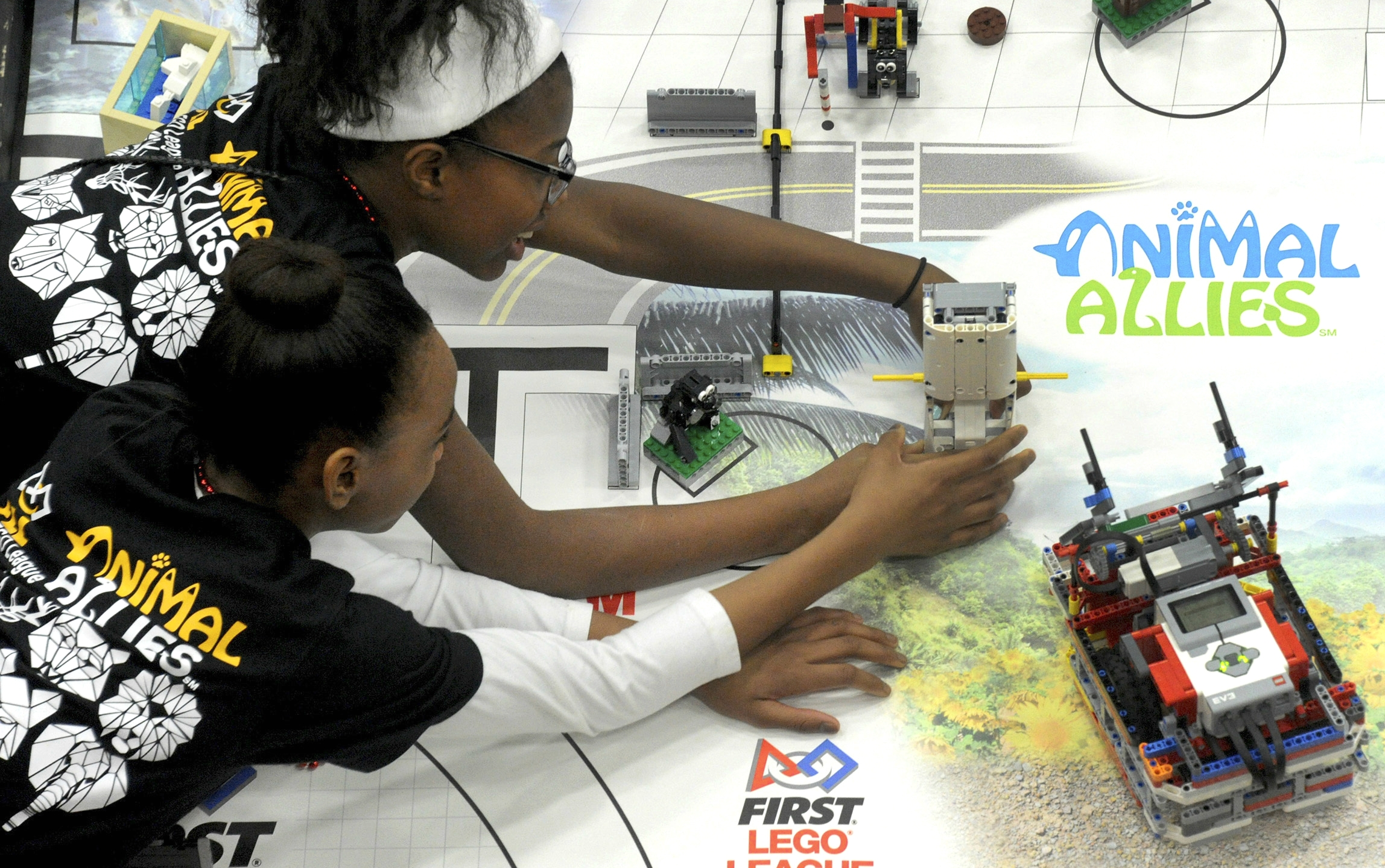 Students play with their robots
