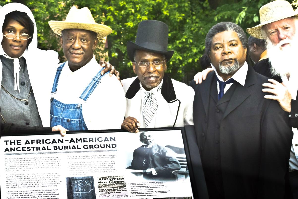 Black history reenactors in costume