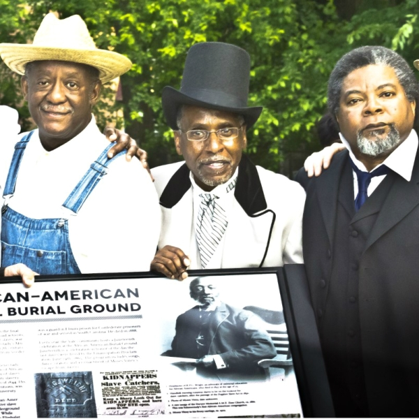 Black history reenactors in costume