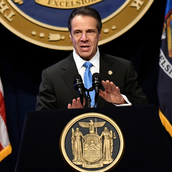 Cuomo at podium for State of the State 2020