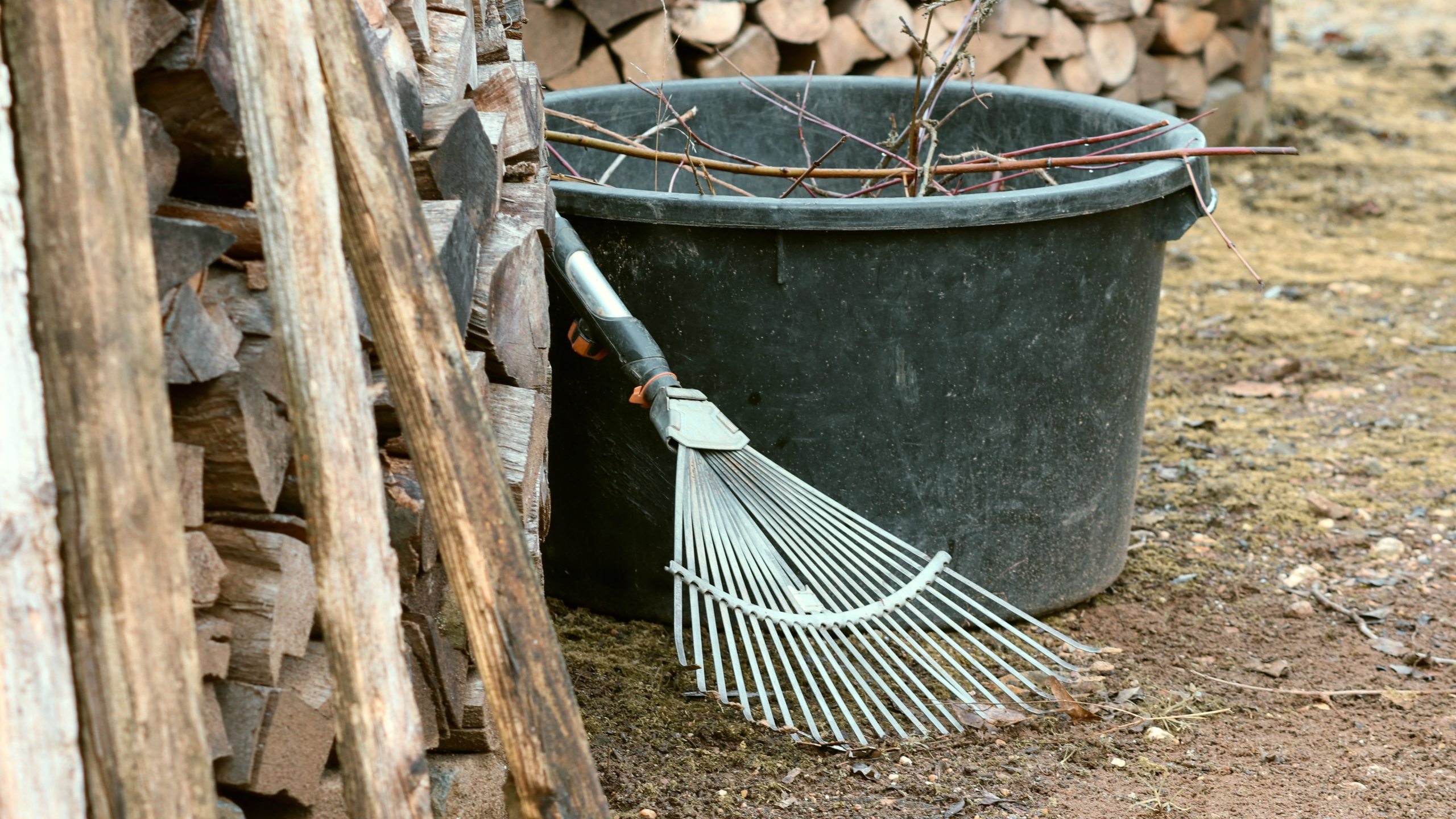 rake and bucket with dead branches