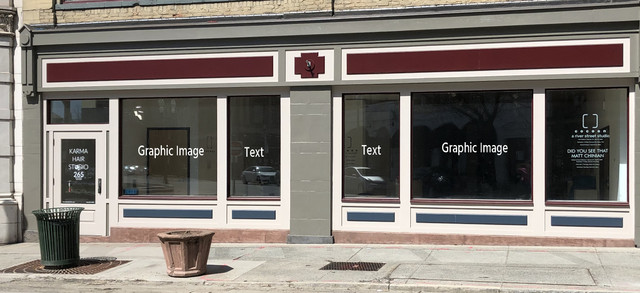 Arts Center windows labeled