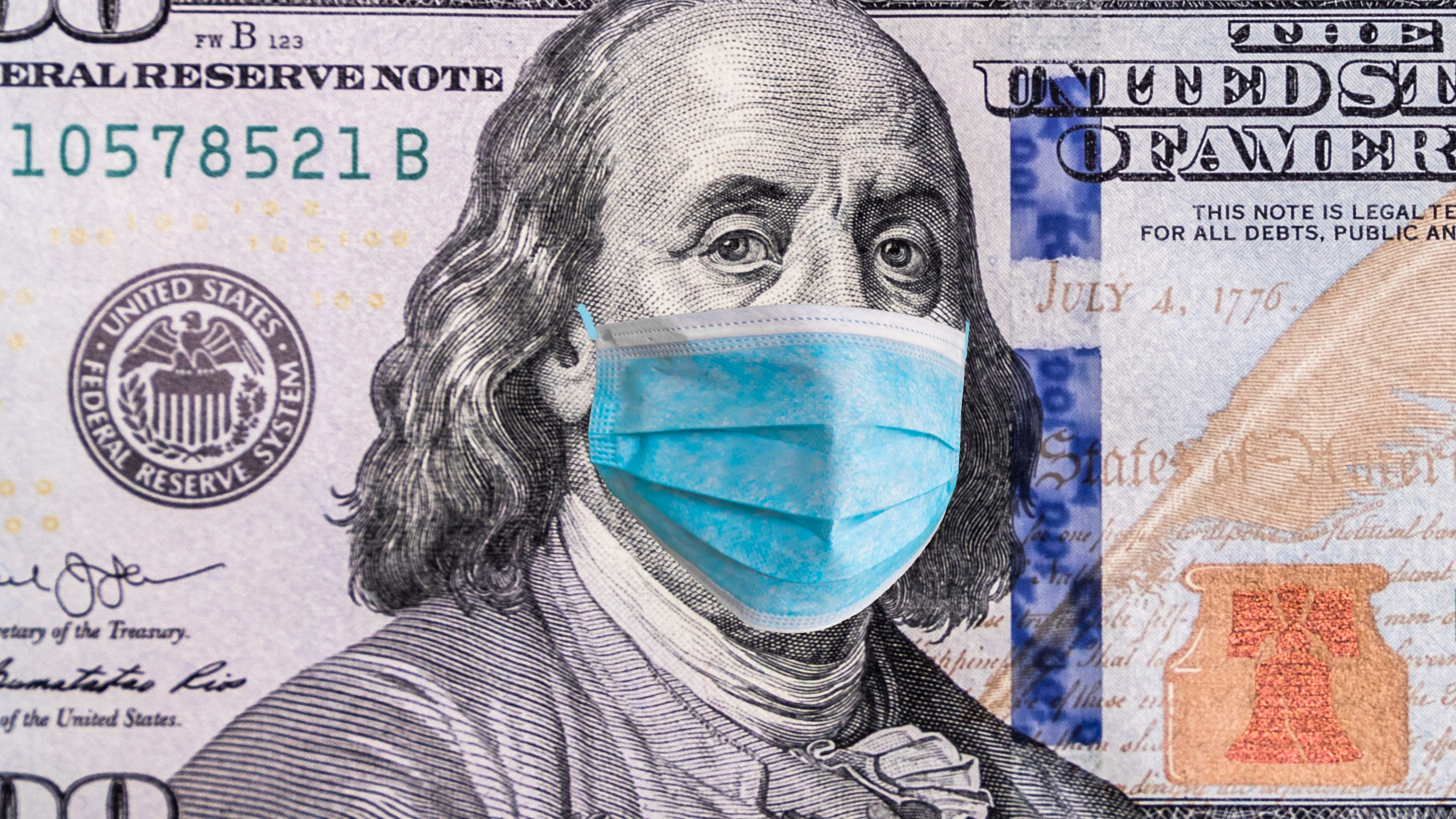 hundred dollar bill with face mask
