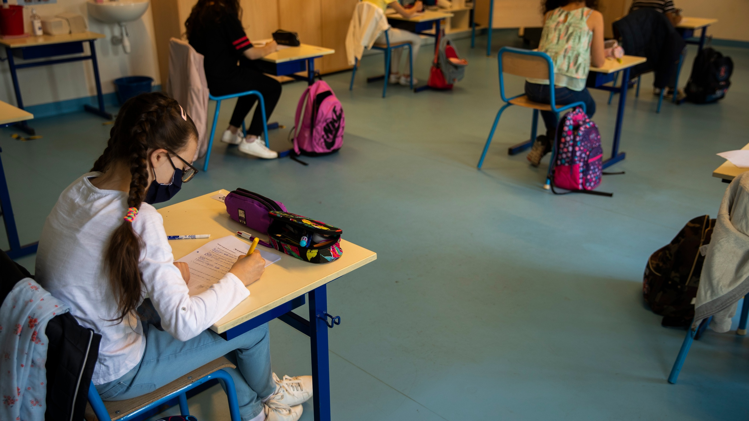 Socially distanced school desks in Belgium