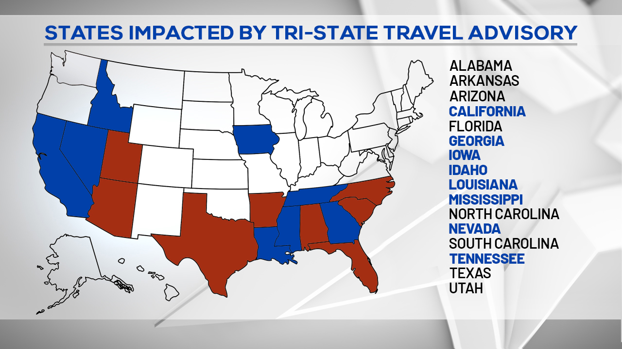 Updated States in Travel Advisory