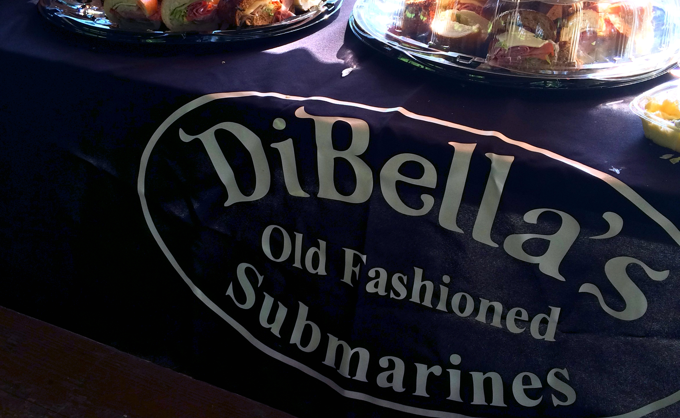 DiBella's subs logo on tablecloth