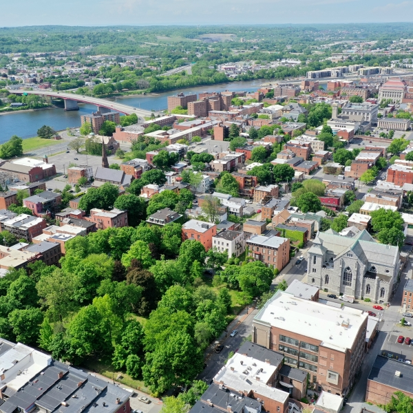 Drone image over Troy, NY