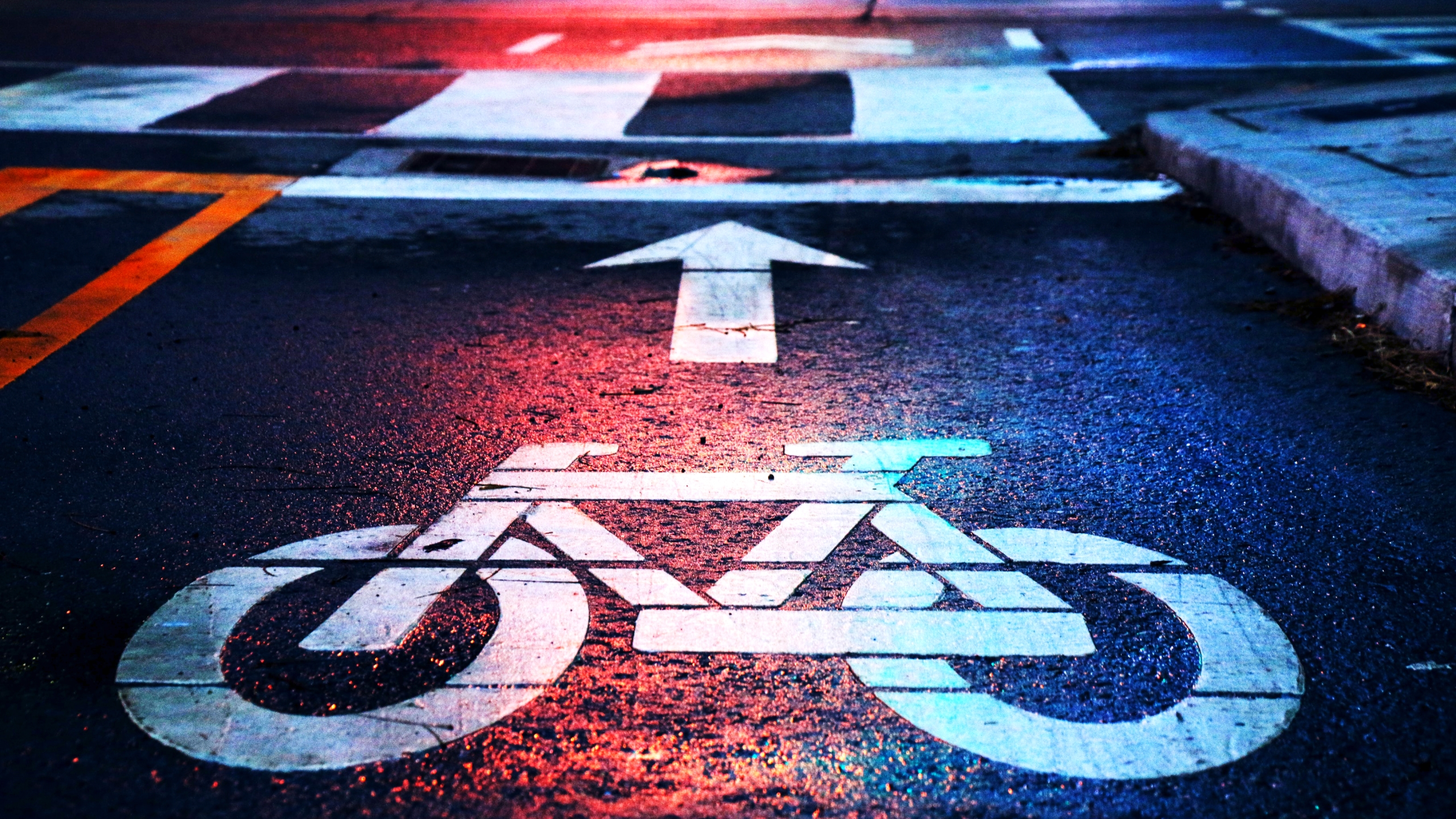 Bike lane image on asphalt road
