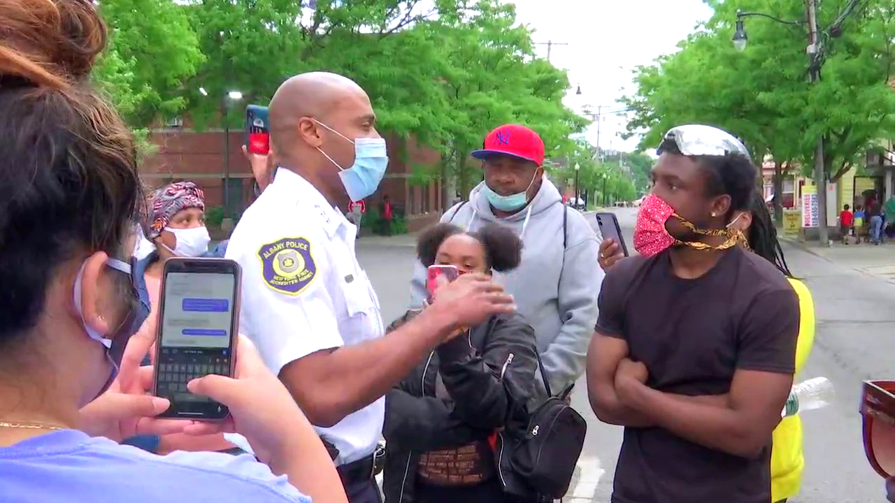 Police chief talks with protesters in Albany