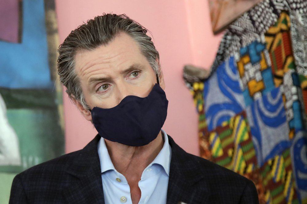 California Gov. Gavin Newsom in a mask