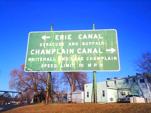 Sign in Waterford at the junction of the Erie Canal and Champlain Canal