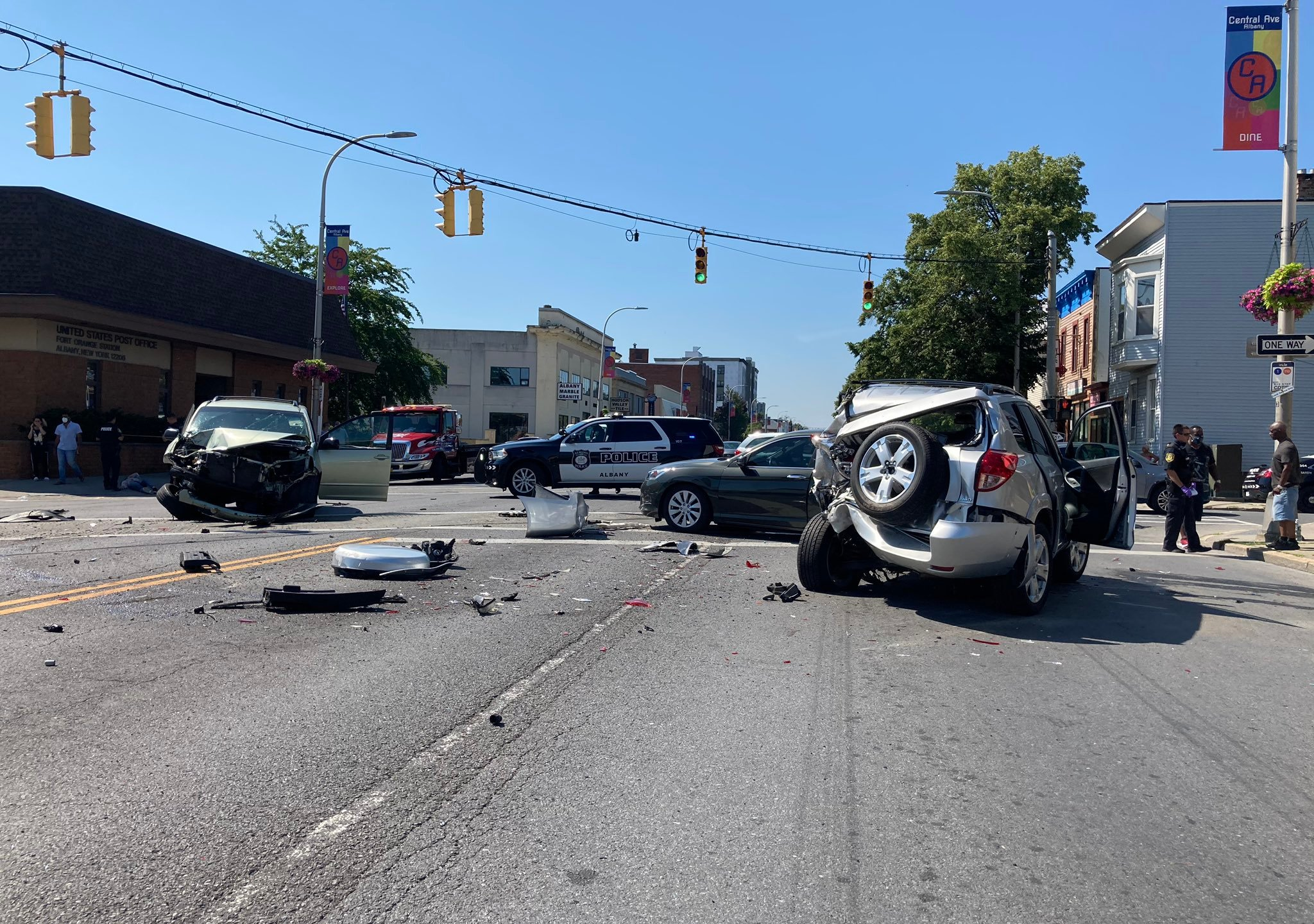 The scene of an accident on Central Avenue in Albany