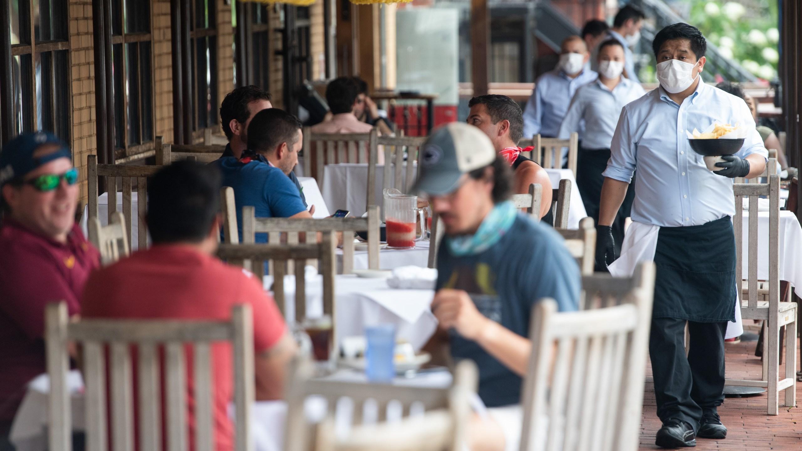 Restaurant scene during coronavirus