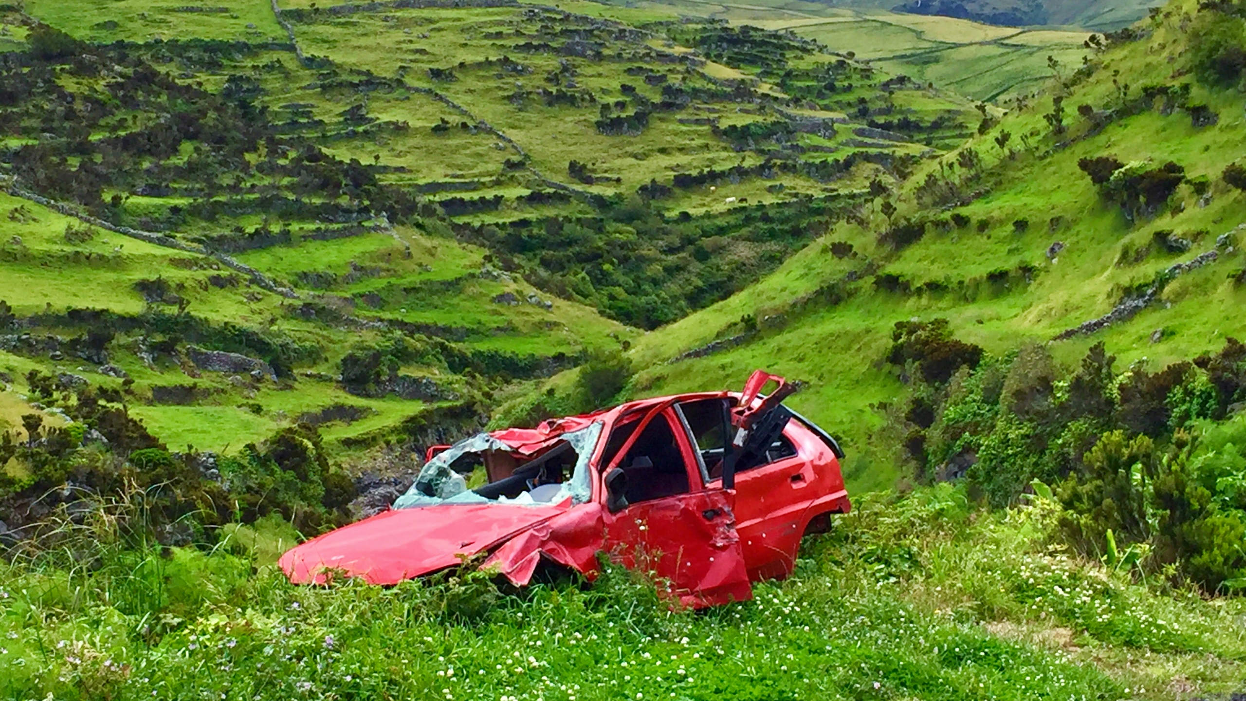 Heavily damaged red car on a grassy green hill