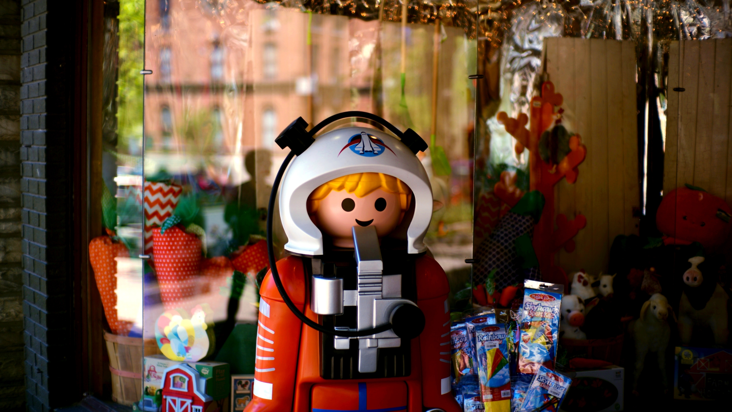 Life-size lego astronaut in Saratoga Springs