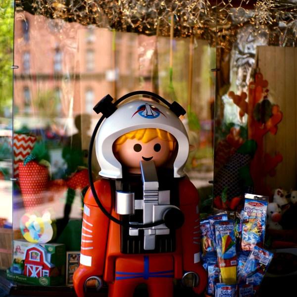 Life-size lego astronaut in Saratoga Springs