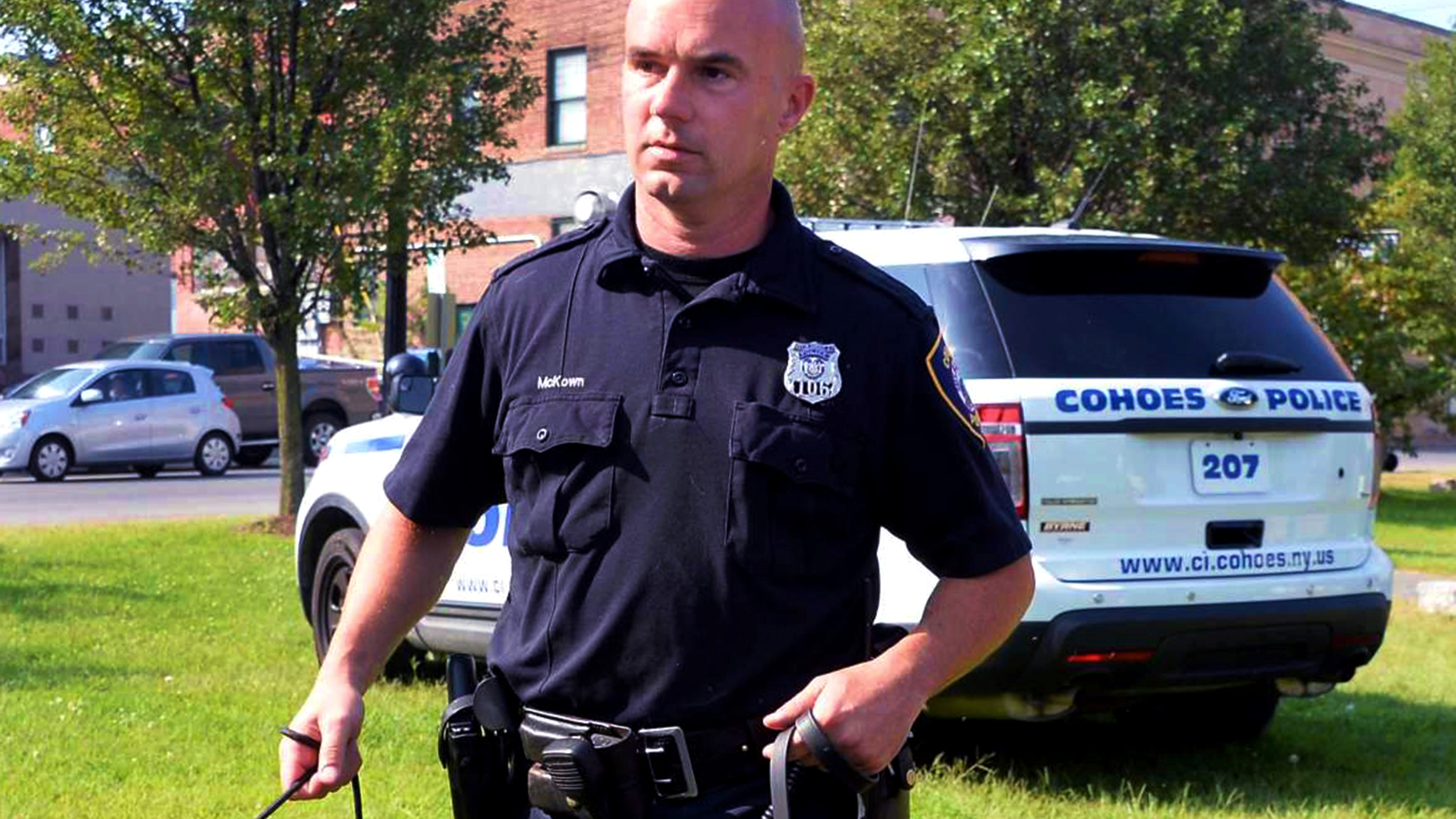 Officer Sean McKown outside the Cohoes Police Station
