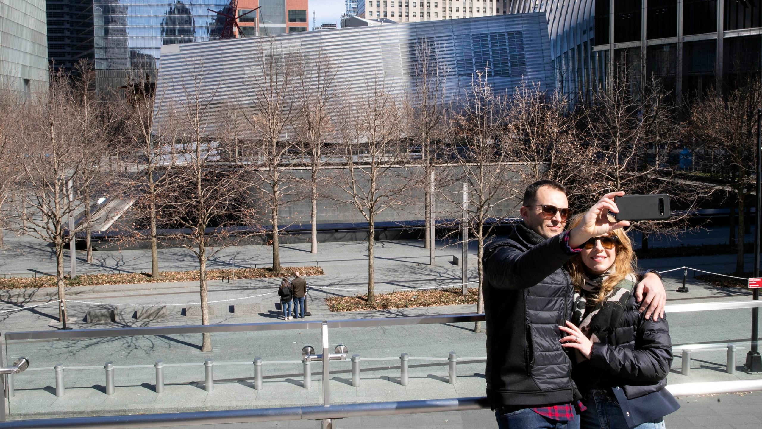 A selfie by the September 11 Memorial