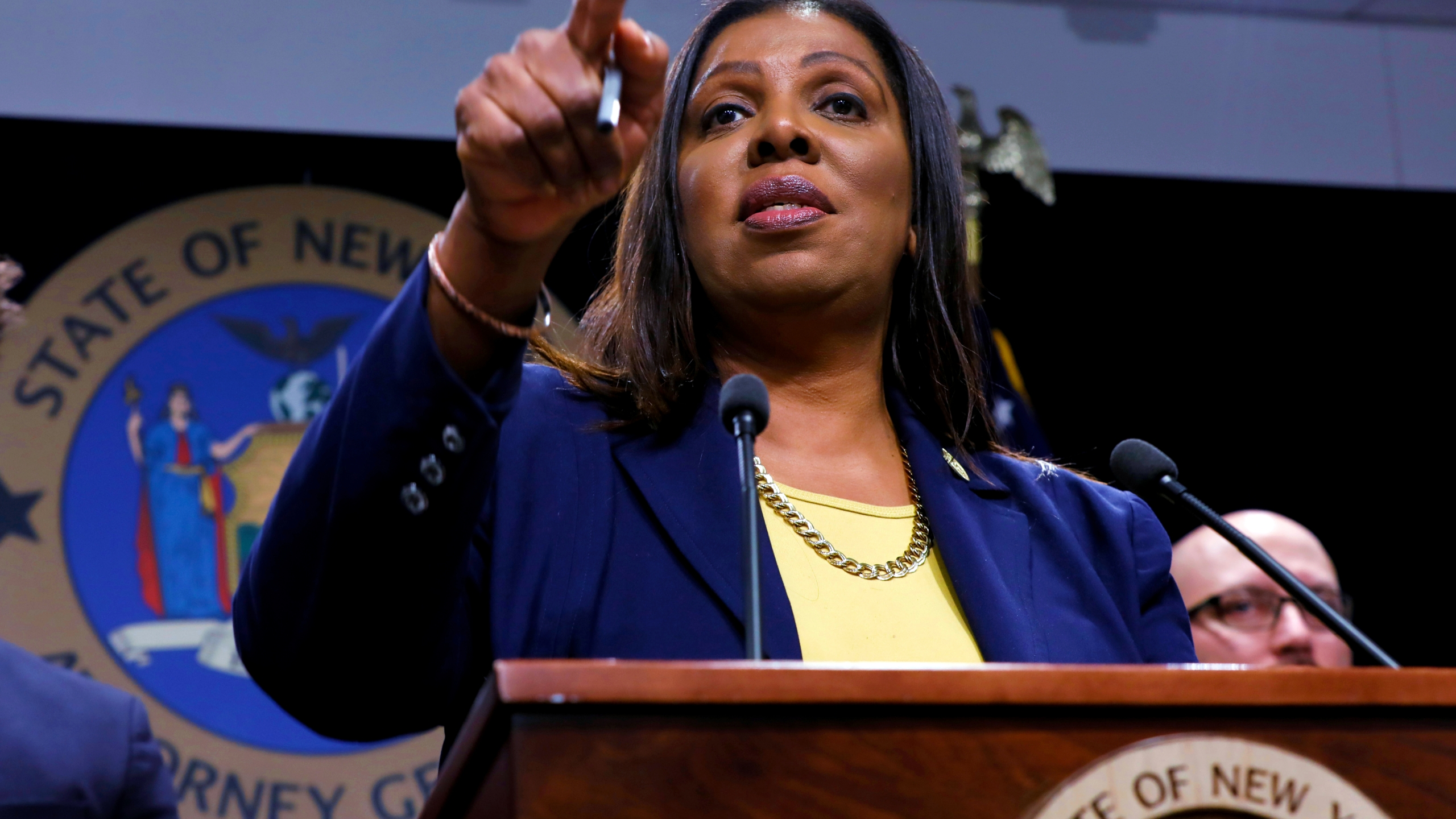 Letitia James pointing