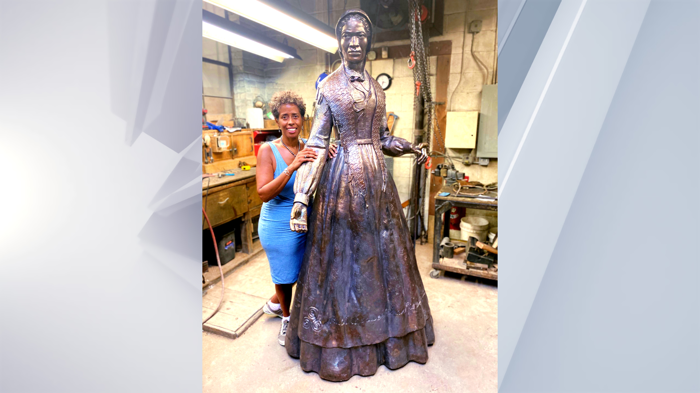 Sculptor Vinnie Bagwell with 7-foot-tall monument to Sojourner Truth
