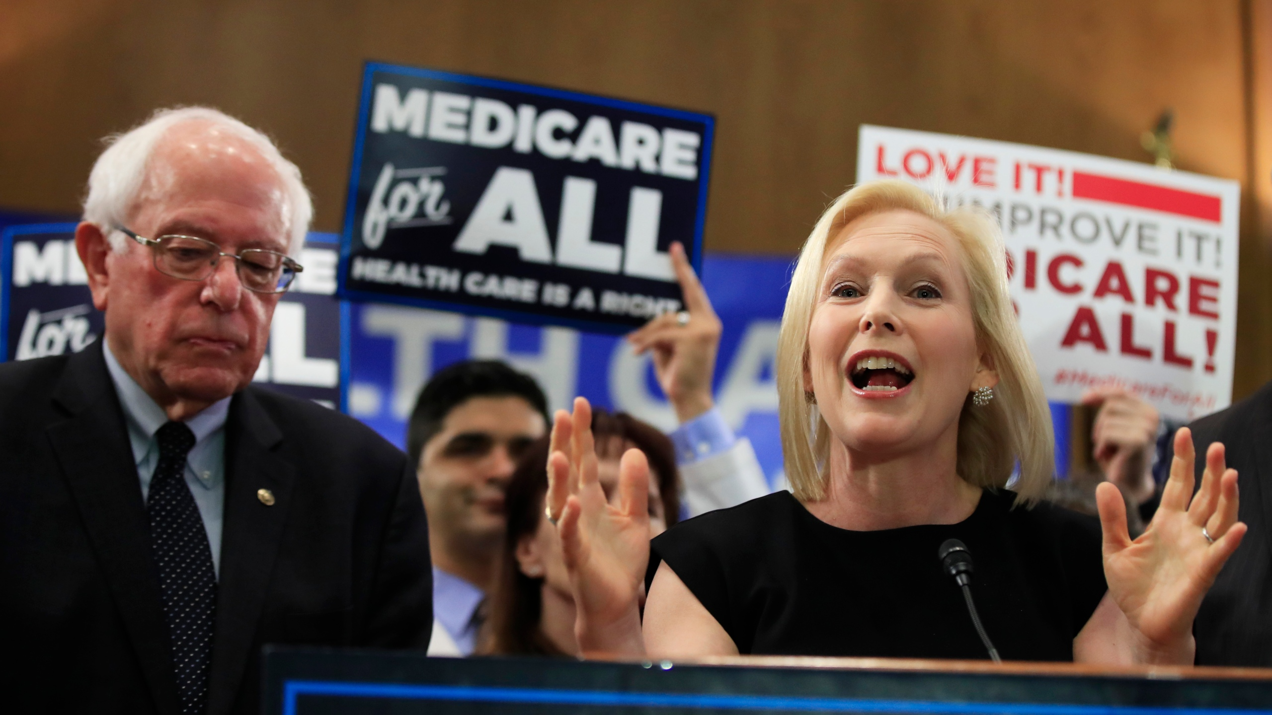 Sanders and Gillibrand at a Medicare for All event in 2019