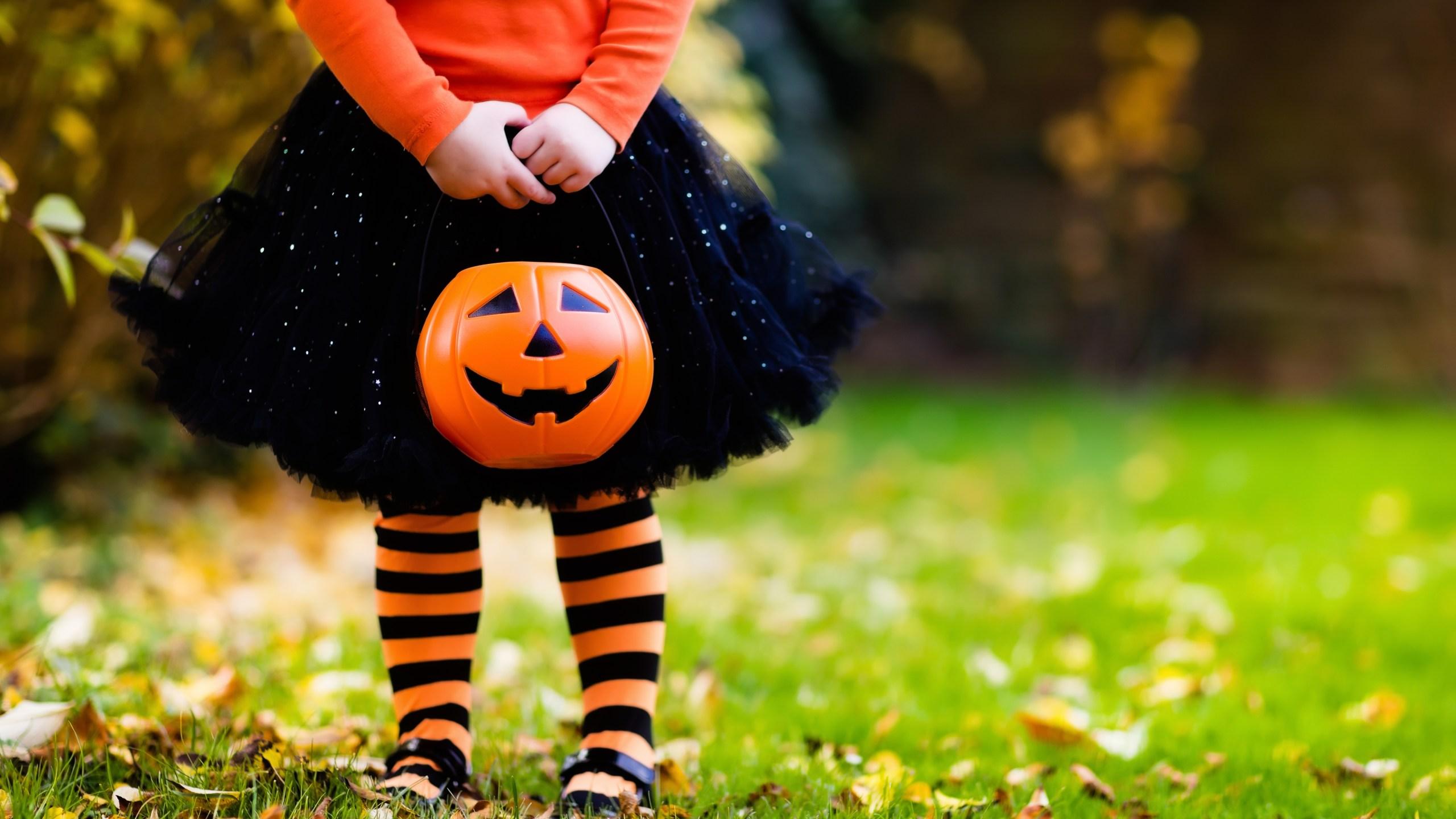 Little girl having fun on Halloween