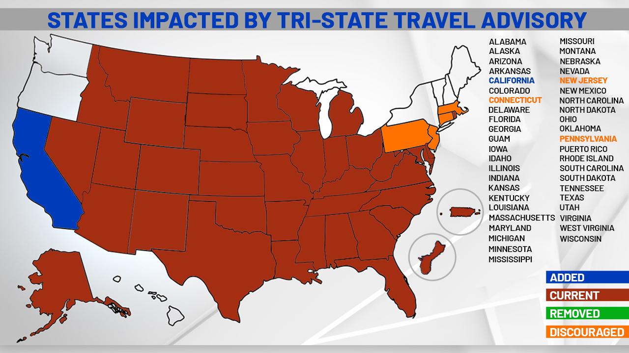 California Added To New York Coronavirus Travel Advisory Massachusetts Meets Criteria