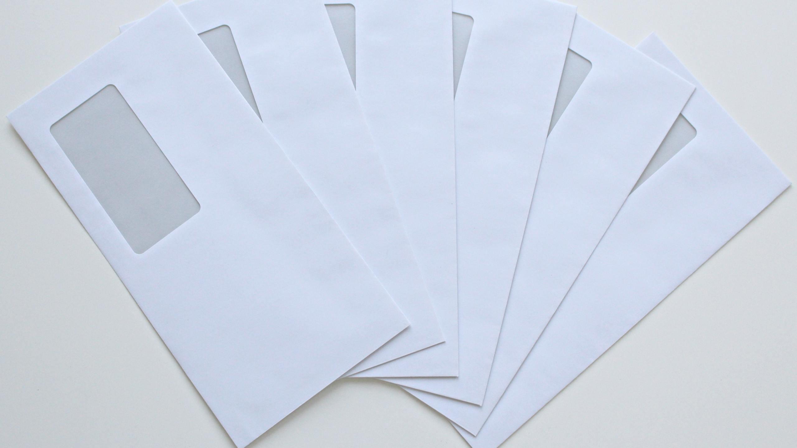 White envelopes with windows