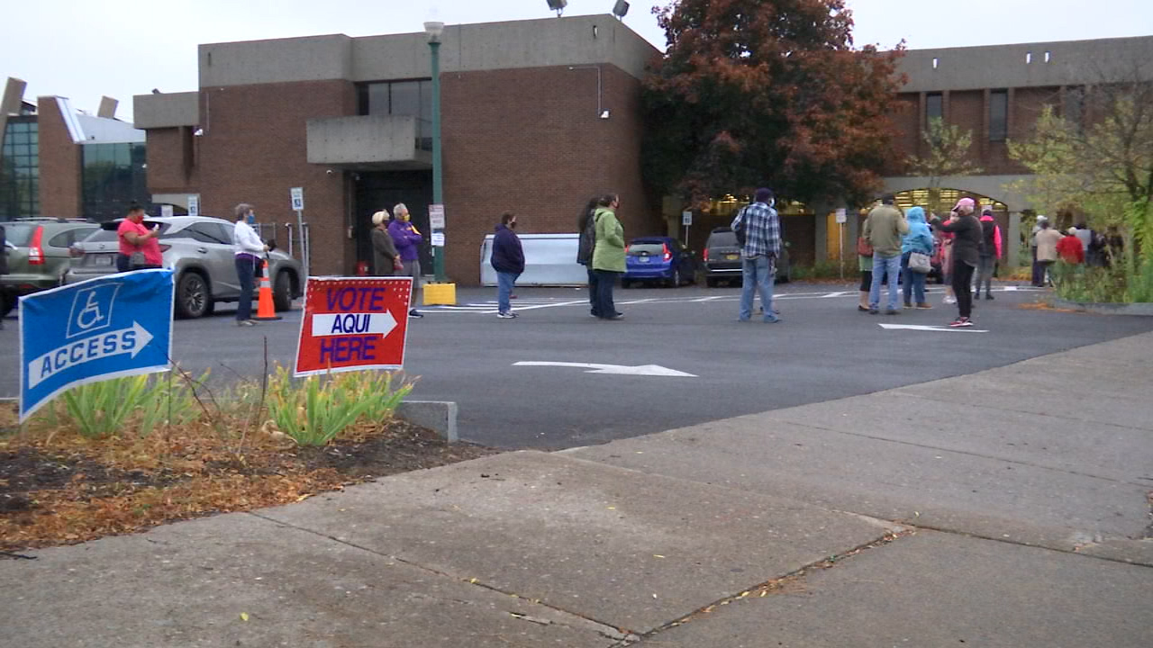 Lines of voters gather for early voting in New York