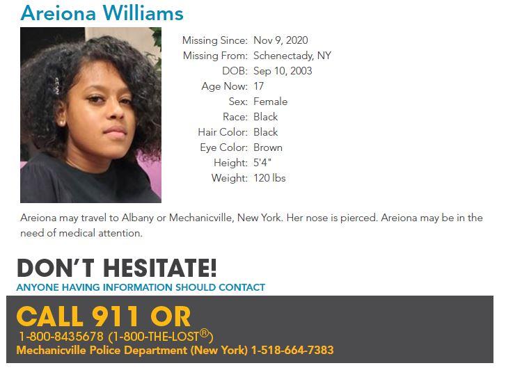 Areiona Williams Missing Poster