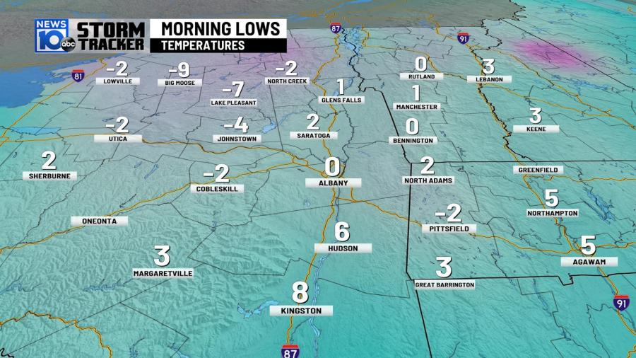 Friday Morning Lows Capital Region