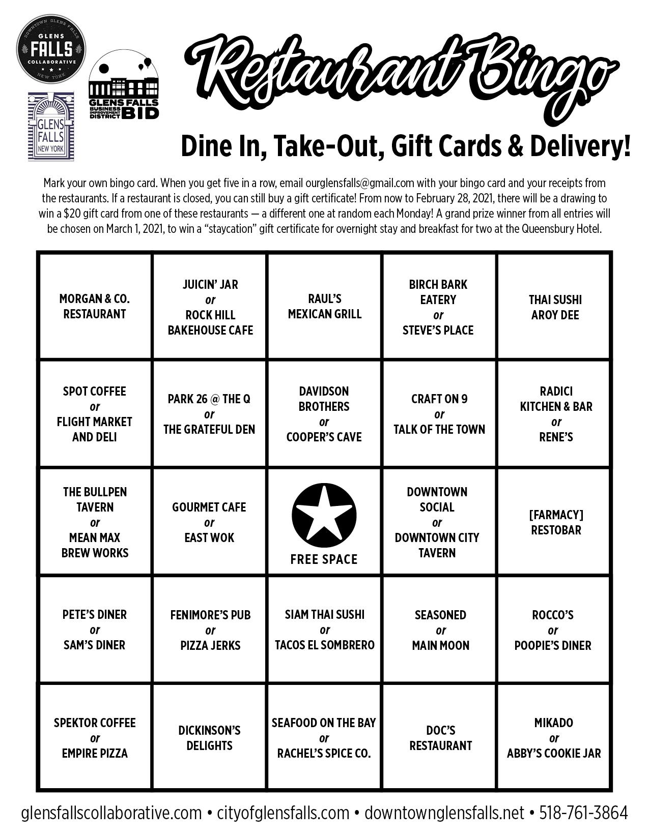 'Restaurant Bingo' organized to bring more traffic to Glens Falls eateries