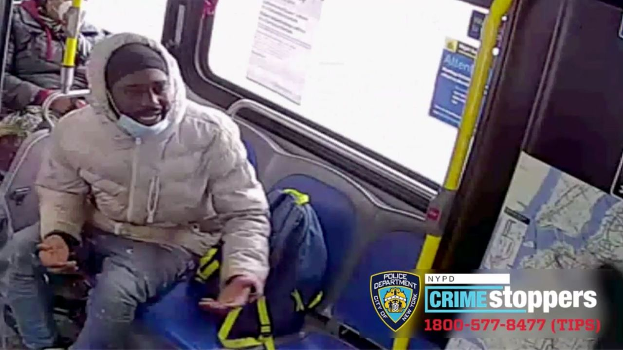 Image from surveillance video of a man police believe spat on an MTA bus driver before hitting him with a two-by-four piece of wood, knocking him out, in Brooklyn on Tuesday morning, Feb. 9, 2021. (NYPD)