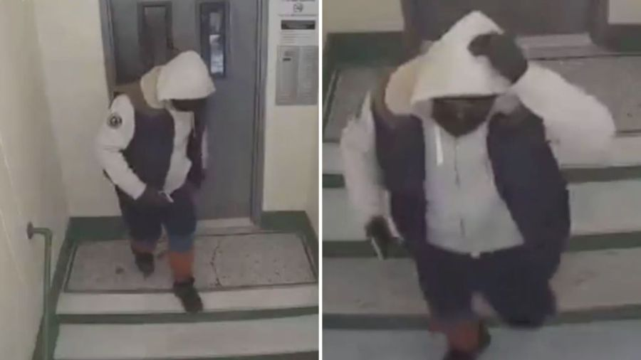 Surveillance images of a man wanted in connection with a home invasion and robbery in the Bronx on Saturday, Feb. 13, 2021, according to police. (WPIX)