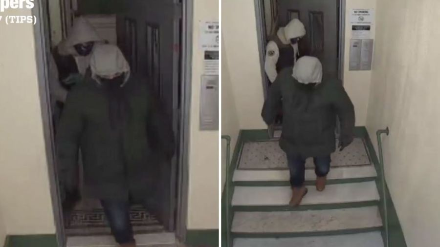 Surveillance images of two men wanted in connection with a home invasion and robbery in the Bronx on Saturday, Feb. 13, 2021, according to police. (WPIX)