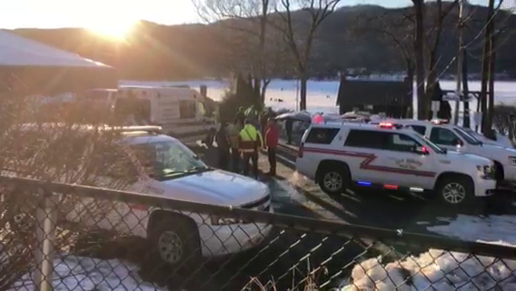 Lake George snowmobile accident rescue scene
