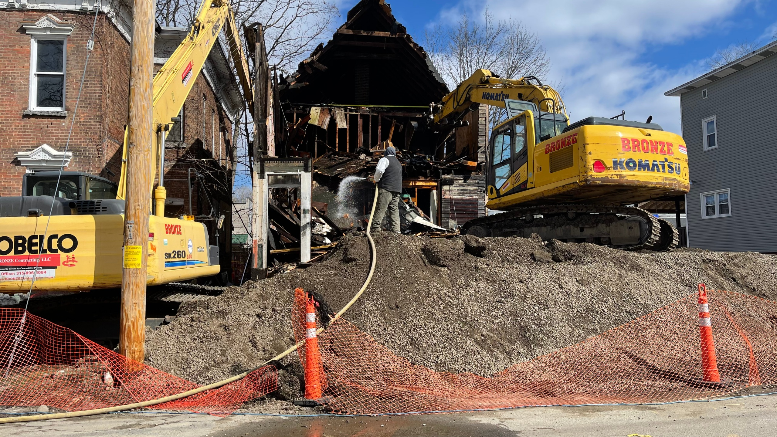 Crews worked throughout Thursday to demolish some vacant properties throughout the city.