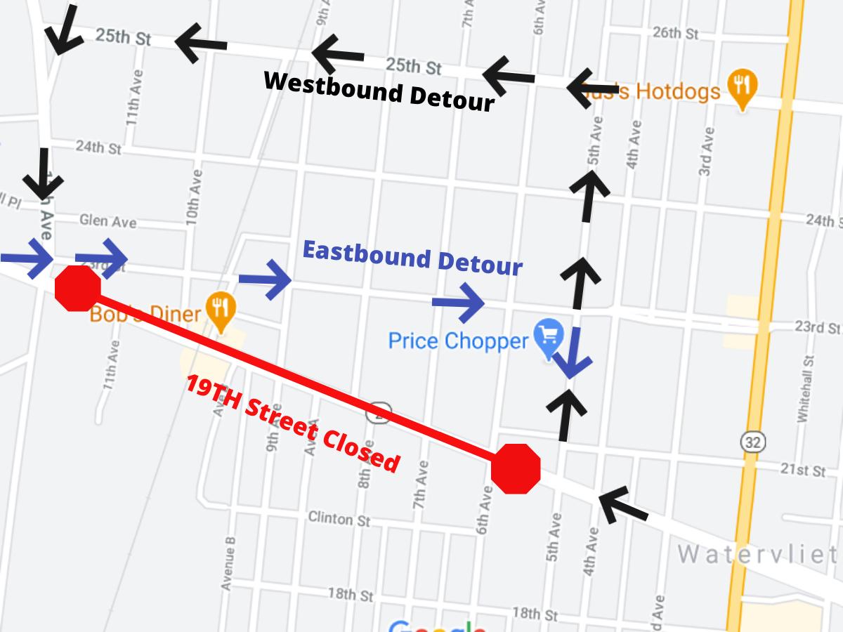 19th St Closure Map