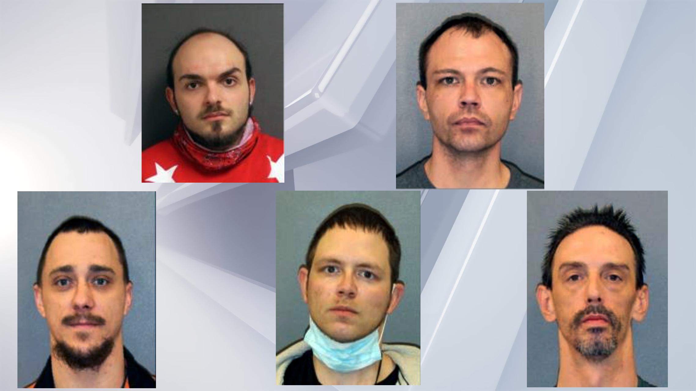 Mugshots for Tony Prichard, Nicholas Warner, Joshua Ferrucci, William Robison, and Patrick Disbrow (Saratoga County Sheriff)