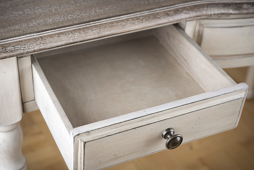 Open wooden drawer