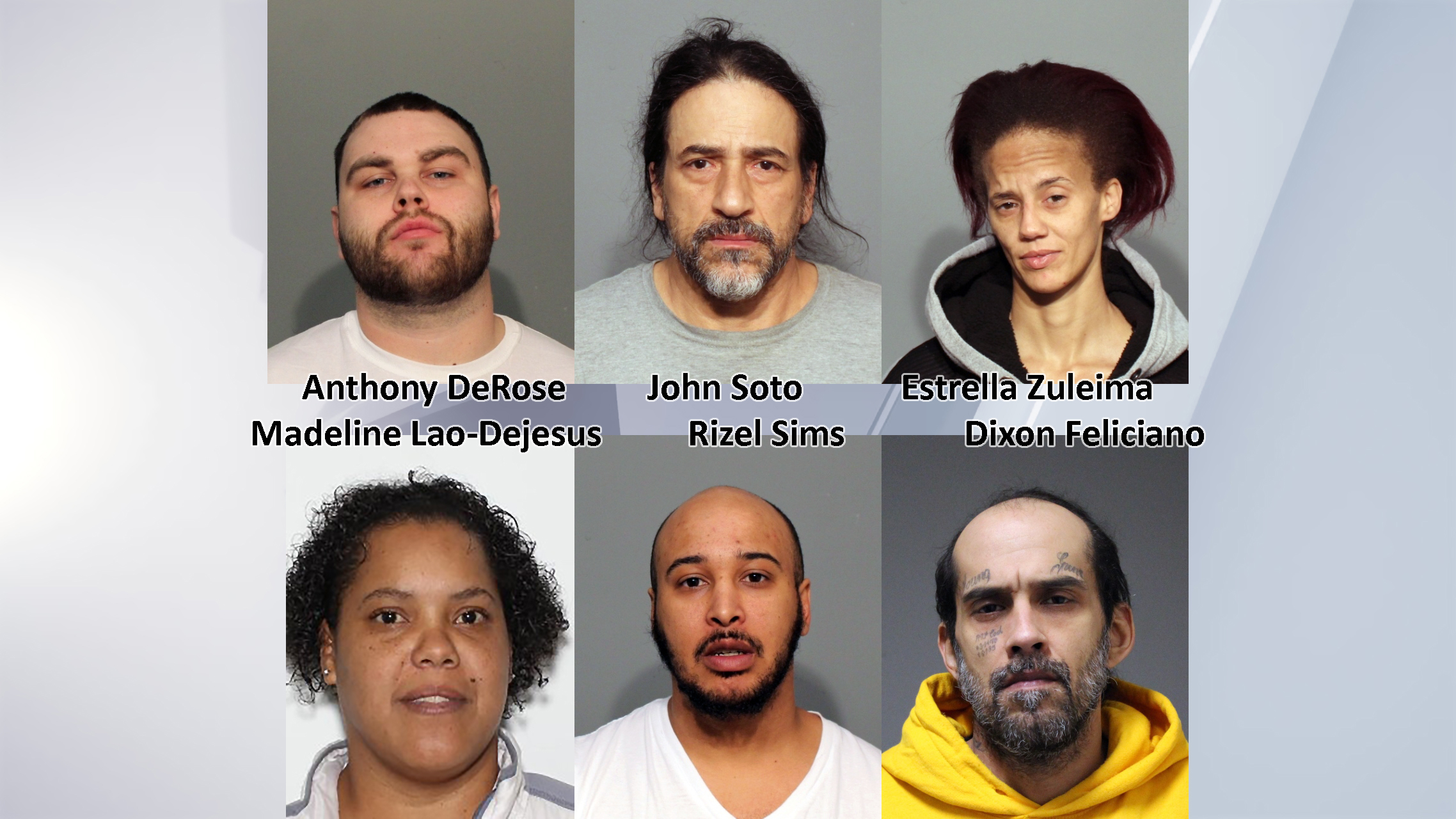 Mugshots for DeRose, Soto, Zuleima, Lao-Dejesus, Sims, and Feliciano provided by Amsterdam PD