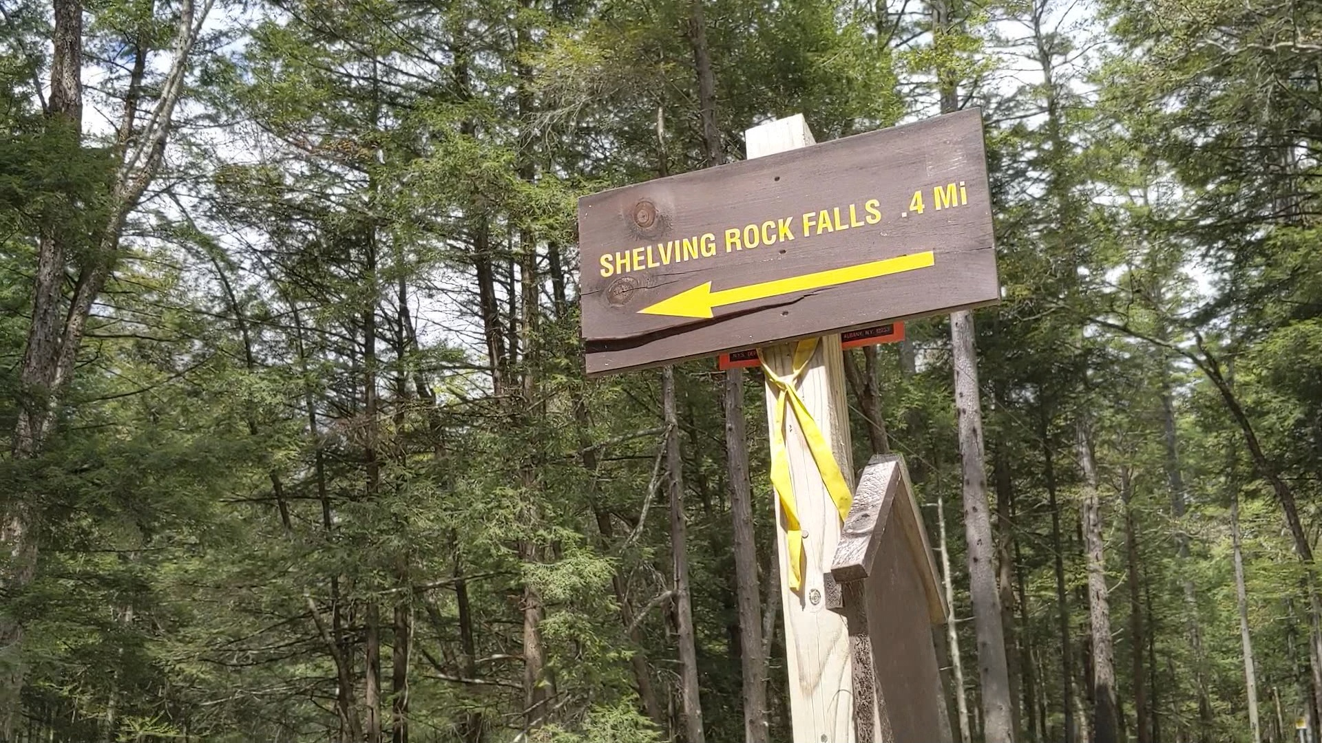 shelving rock falls sign