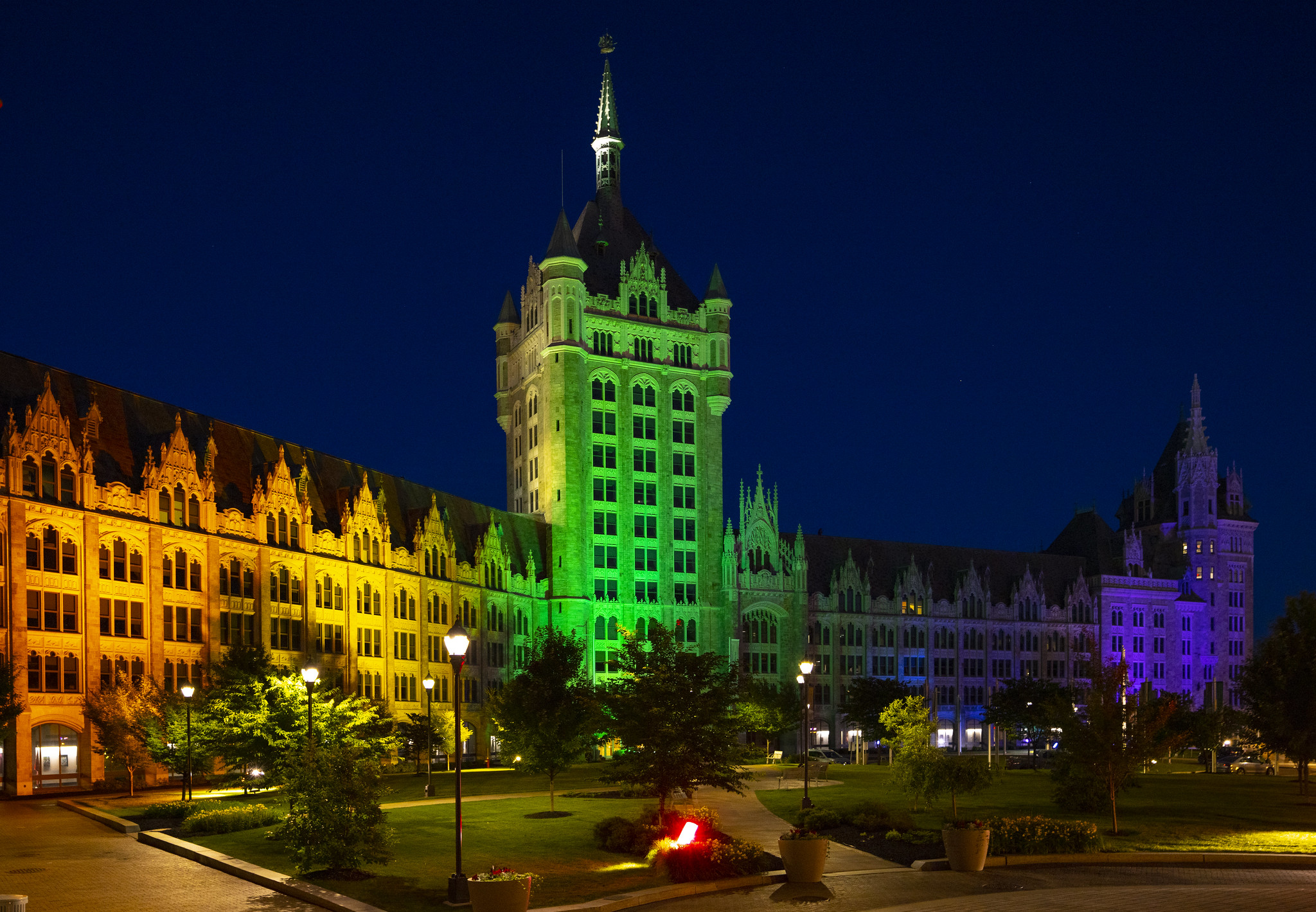 The H. Carl McCall SUNY Building lit in rainbow colors in honor of gay pride. (Mike Groll/Office of Governor Andrew M. Cuomo)