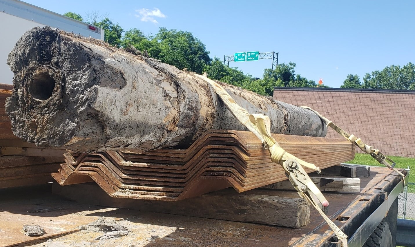 Wood water mains found in Albany near City Hall.