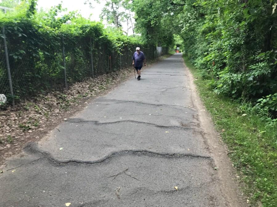 Before photo of rehabbed segment of Mohawk Hudson Bike Hike Trail (DOT)